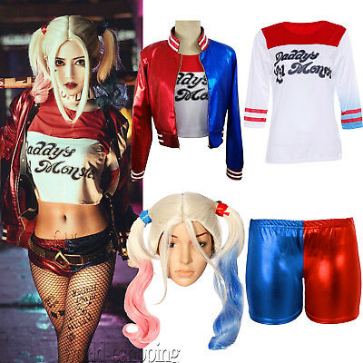 Women Girl Suicide Squad Harley Quinn Costume T-shirt Top Jacket Coat Shorts Wig