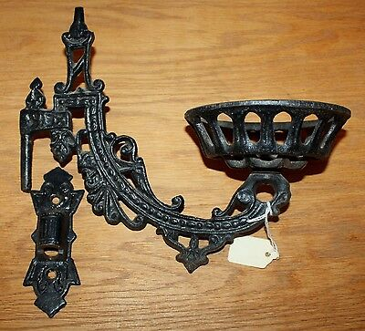 Vintage Antique Cast Iron Single Wall Sconce with Bracket Oil Lamp Holder #2