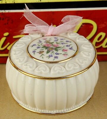 Lenox Porcelain Jewelry Dish Case with Lid and Pink Fabric Lined Bottom Bow