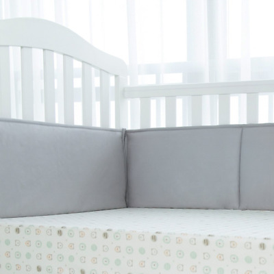 TILLYOU Padded Baby Crib Bumper, Premiun Woven Cotton and Breathable Fill-in(Mic