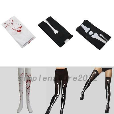 Nurse Zombie Halloween Bloody Blood Skeleton Stain Hosiery Thigh Stockings Sexy