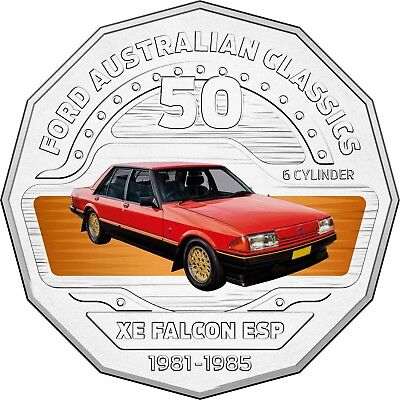 2017 RAM 50c UNCIRCULATED COLOURED COIN FORD CLASSICS - 1982-1985 XE FALCON