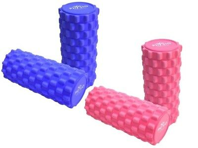 (Blue) - PhysioWorld Grid Foam Roller 33x15cm - Trigger Point Massage, Yoga ,