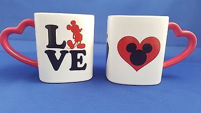 """2 Disney Mickey Mouse Square """"love"""" Mugs Cups Heart Shaped Handle Red White Htf"""
