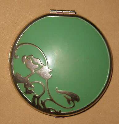 Vintage Art Deco Green Enameled POWDER & ROUGH (2 Seperate Compartments) COMPACT