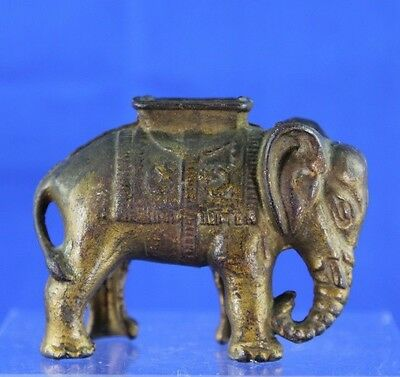 Antique Cast Iron Elephant With Hoodah Still Bank Original Gold Finish