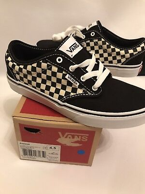VANS Atwood Canvas Black & White Shoes Skate Youth Size 4.5 Boys Sneakers