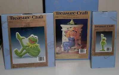 Treasure Craft The Muppets Miss Piggy & Kermit the Frog Cookie Jar, Trivet, Spoo
