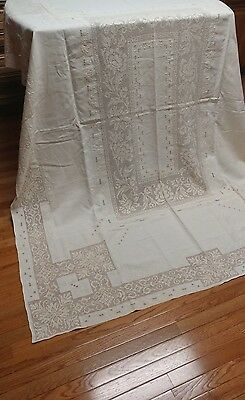 "Vintage Italian lace embroidery linen tablecloth 86""×66""NOS"
