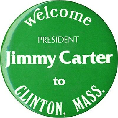 Scarce 1977 Jimmy Carter Clinton Massachusetts Presidential Visit Button (3387)