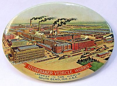 early variant  STUDEBAKER VEHICLE WORKS factory celluloid pocket mirror *