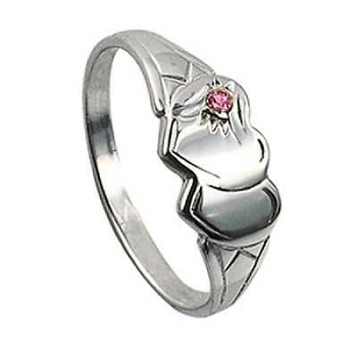 Girls/ladies Double Heart 925 Sterling Silver Signet Ring With Pink Stone