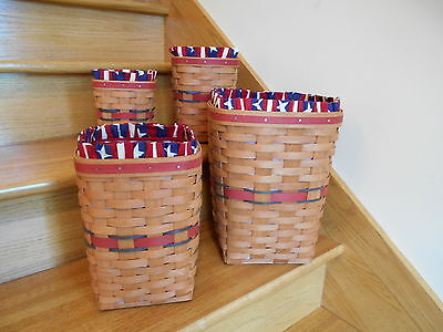 Longaberger All American Super Set 4 Spoon Waste Baskets lin pro *free shipping*