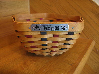 Longaberger Star Bee Basket 2008 warm, red and blue w/ prot New *free shipping!*
