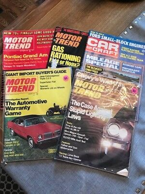 Vintage Automobile Magazines Motor Trend Auto 1970's, 1980, Lot of 5