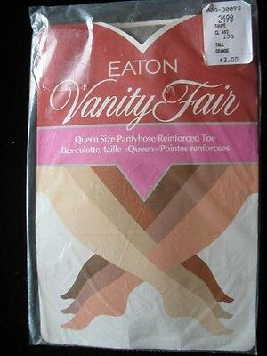 Vtg EATON VANITY FAIR Queen Size Pantyhose, R Toe, TAUPE, Size Q/TALL - 20% OFF
