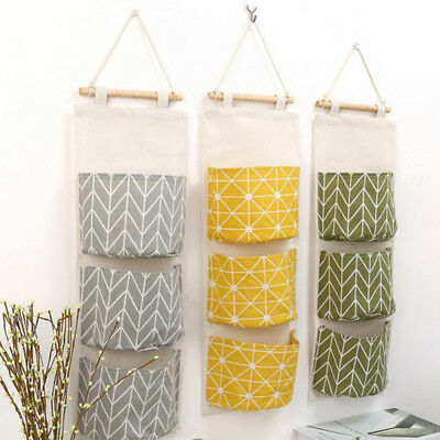3 Grids Wall Hanging Storage Bag Pocket Toys Container Organizer Pouch Decor