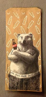 COCA-COLA POLAR BEAR Vintage Paper Lunch Bag/Sack From 1996