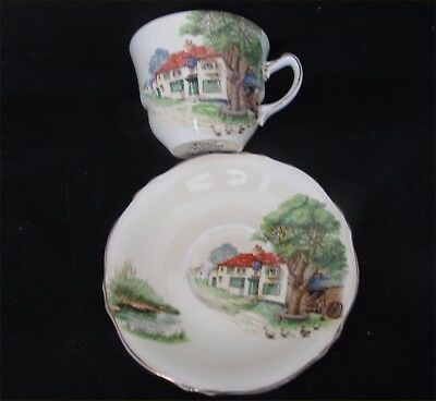 Royal Winton  Cup & Saucer -  Red Roof Inn Pattern