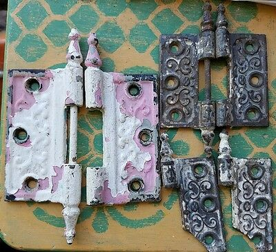 Antique Victorian Steeple Top Door Hinge Hardware 4x4 & 3x3 Misc Parts 6 Pieces