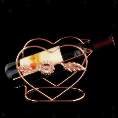 Heart Design Red Wine Bottle Holder Rack Bar Desktop Display Stand Bracket
