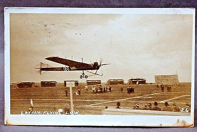 1911 LATHAM FLYING LOW San Francisco ANTOINETTE VII RPPC real photo postcard
