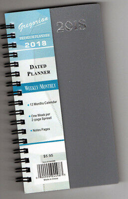 """2018 SPIRAL Pocket Dated WEEKLY MONTHLY PLANNER SM 6X3.5"""" LINED Calendar Premium"""