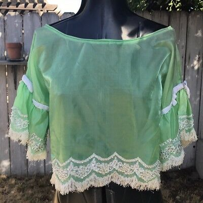 VINTAGE 50s/60s/70s ? GREEN CROPPED TOP BLOUSE W/ FRINGE & RHINESTONES & BELL SL