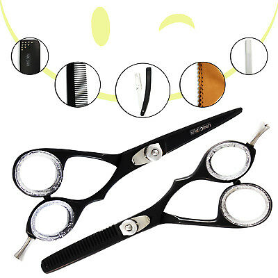 "5.5""Barber Style Hair Cutting&Thinning Scissors Shears Set With Black"