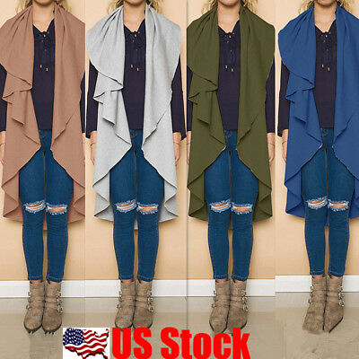 Womens Sleeveless Thin Long Duster Waistcoat Jacket Coat Cardigan Suit Vest USA