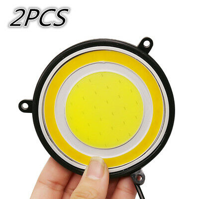 2pcs 2in1 round COB Car Driving Light White LED Turn Signal DRL Accessories New
