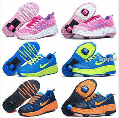 Bosy Girls Auto Retractable Single/Dual Wheels Roller Shoes Skating Sneakers