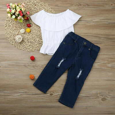 2PCS Toddler Baby Girl Off Shoulder T-Shirt Top + Ripped Jeans Pants Outfits Set
