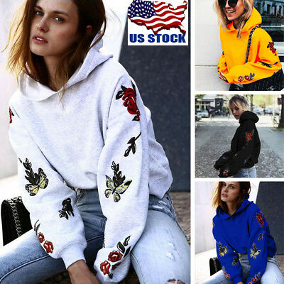 Women Floral Hoodie Jumper Hooded Sweater Casual Long Sleeve Sweatshirt Pullover