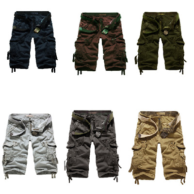 Hot Men's summer loose casual large size multi-pocket camouflage shorts pants