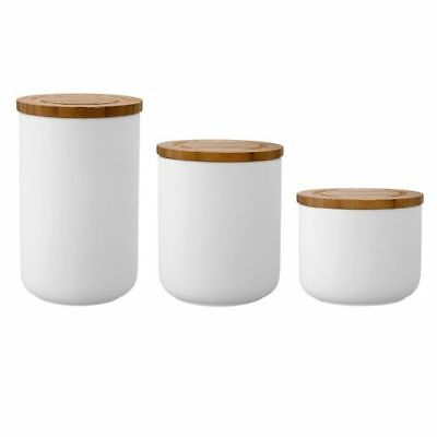 NEW Ladelle Stak 3-Piece Soft Matte Canister Set in Blue, White