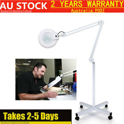 5X Magnifying Lamp Adjustable Light Diopter magnifier Rolling Floor Stand AU