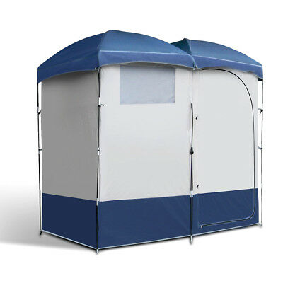 Weisshorn Double Camping Shower Tent Changing Room Toilet W/ Carry Bag Navy/Grey