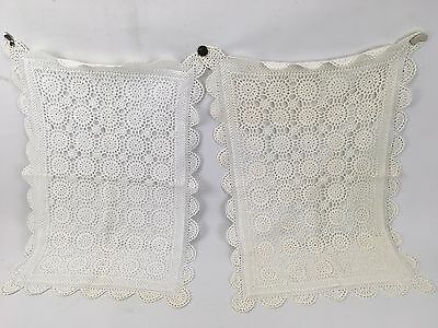 Pair of Shabby Hand Made Embroidery Pillow Cases Covers Doilies Style