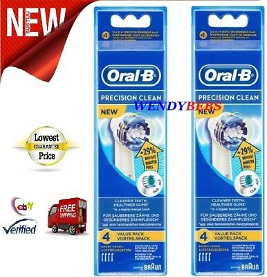 8 Genuine Braun Oral-B Precision Clean (+29%) Toothbrush Replacement Heads Eb20.