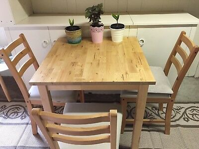 Ikea Wood Table with Chairs