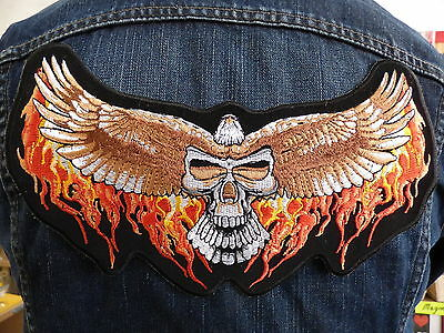GRAND IRON-ON PATCH ESCUTCHEON/ EAGLE CRANE FLAME biker country route 66 usa
