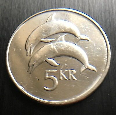 ICELAND 2007 5 KRONUR COIN 24.5 MM DIAMETER dolphins