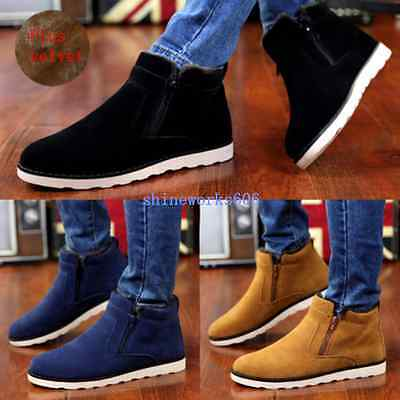 Men's Winter Ankle Boots Slip On Zip Casual High Top Thicken Warm Snow Shoes #62