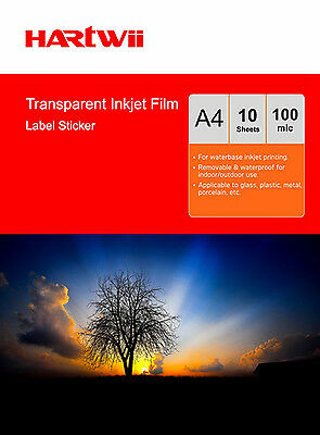 10 Sheets A4 Transparent Self Adhesive Printable Sticky Film Water Resistance