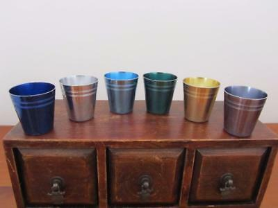 Set 6 Vintage Retro PEACOCK WARE ANODISED CUPS Harlequin - Shot Glass Size Port