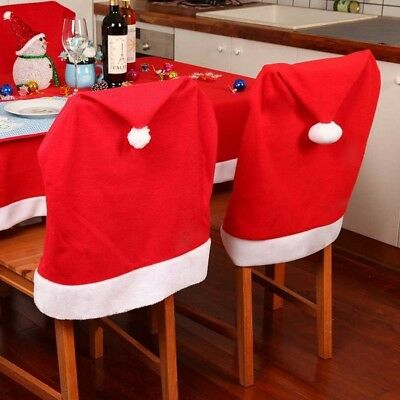 Santa Clause Red Hat Chair Back Cover Christmas-Dinner Table Party Decor NEW.
