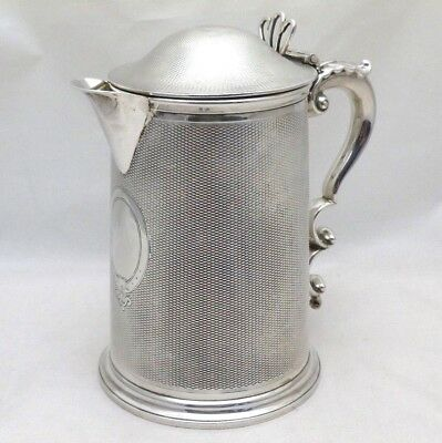 Superb Antique 1868 Solid Silver Engine Turned One Pint Lidded Spouted Tankard