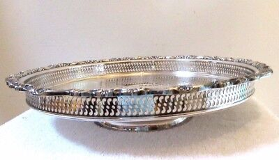 Big Vintage Ornate Silver Plate Lazy Susan Serving Gallery Tray