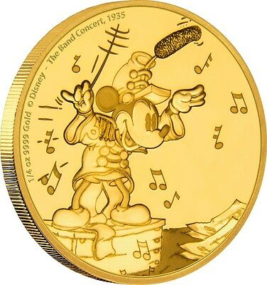 2016 Mickey Mouse Through The Ages: The Band Concert 1/4oz Proof Gold Coin